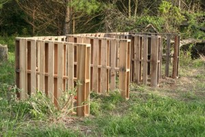 3-bin composting operation made from discarded shipping pallets.