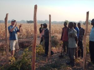 Working with Lozi farmers to make a compost pile
